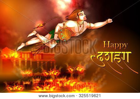 Lord Hanuman With Hindi Massage Meaning Happy Dussehra Background Showing Festival Of India
