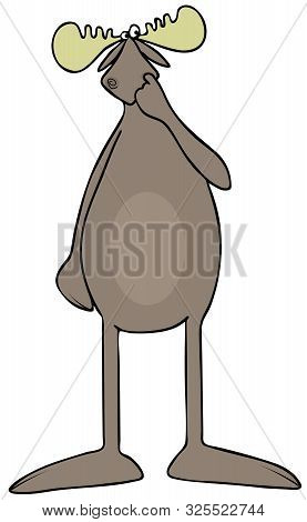 Illustration Of A Big, Dumb Bull Moose With A Finger In Its Nose.