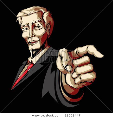 illustration of business man pointing forward in pop art style