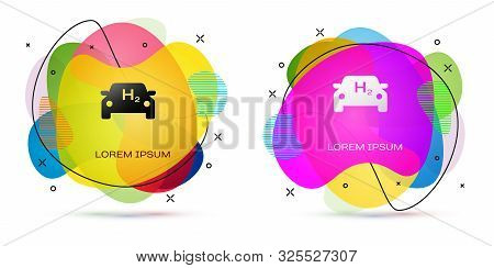 Color Hydrogen Car Icon Isolated On White Background. H2 Station Sign. Hydrogen Fuel Cell Car Eco En