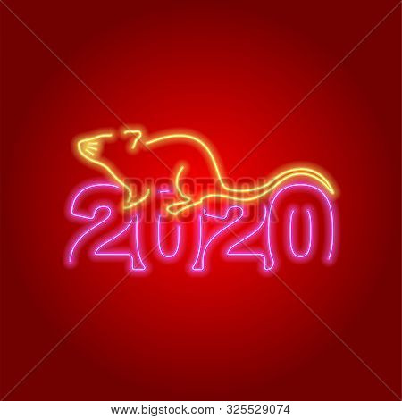 2020 Number Neon Glow Effect On Red Background With Mouse Lunar Chinese New Year, Happy New Year 202
