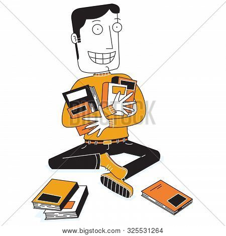 Illustration Of A Happy Good Books Collector