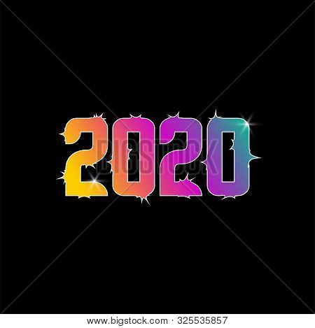 2020 Number Colorful Isolated On Black Background, Number For Calendar, Happy New Year 2020,2020 Beg