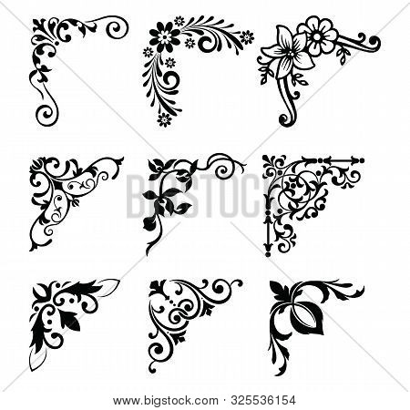 Decorative Victorian Flourish Corners And Dividers. Ornamental Curls Border, Royal Ornaments And Vin