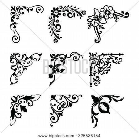 Decorative Victorian Flourish Corners And Dividers. Ornamental Curls Border, Royal Ornaments And Vin