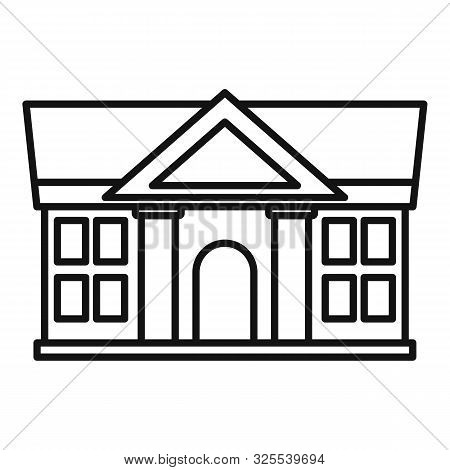 Justice Court Building Icon. Outline Justice Court Building Vector Icon For Web Design Isolated On W