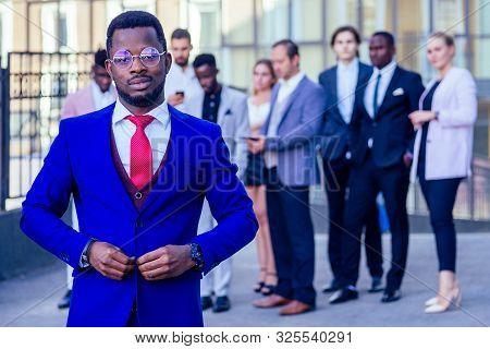 Successful Multinational Professionals Team Portrait, Multi-ethnic Group Of Confident Business Peopl