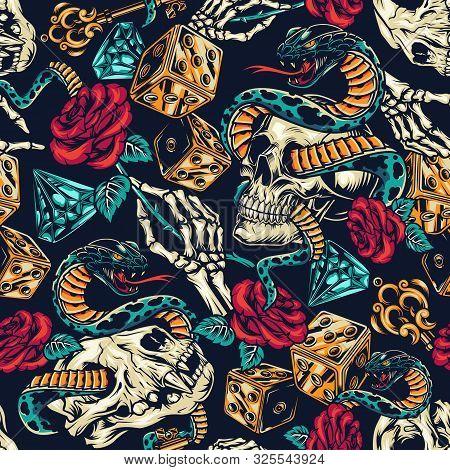 Vintage Tattoos Colorful Seamless Pattern With Dice Skeleton Hand Elegant Medieval Key Rose Flower D