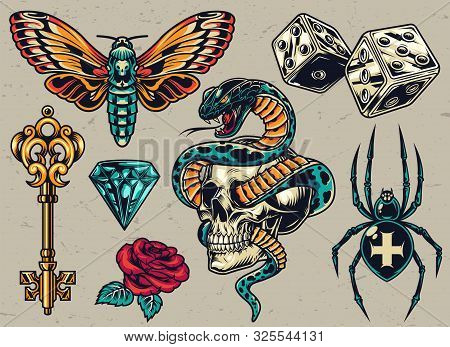 Colorful Tattoos Composition With Medieval Golden Key Butterfly Dice Cross Spider Diamond Rose Snake
