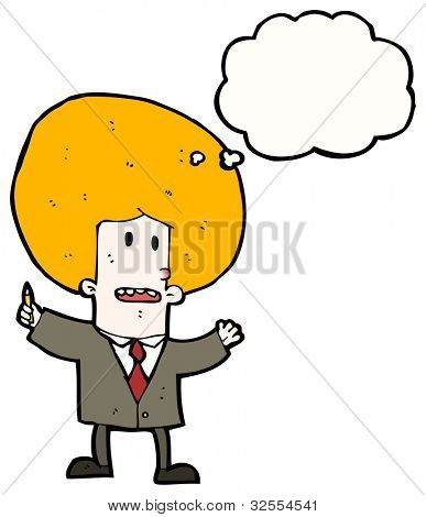cartoon ginger businessman with huge hair