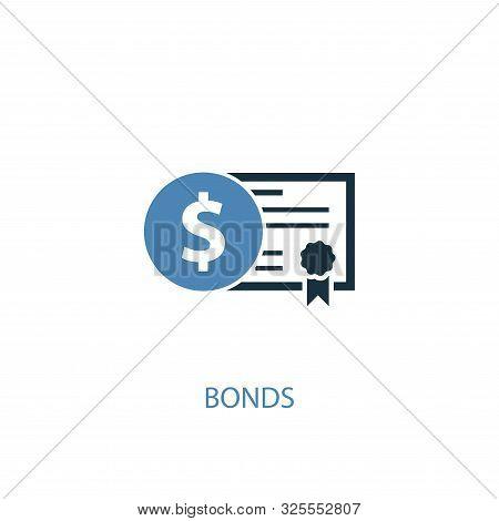 Bonds Concept 2 Colored Icon. Simple Blue Element Illustration. Bonds Concept Symbol Design. Can Be