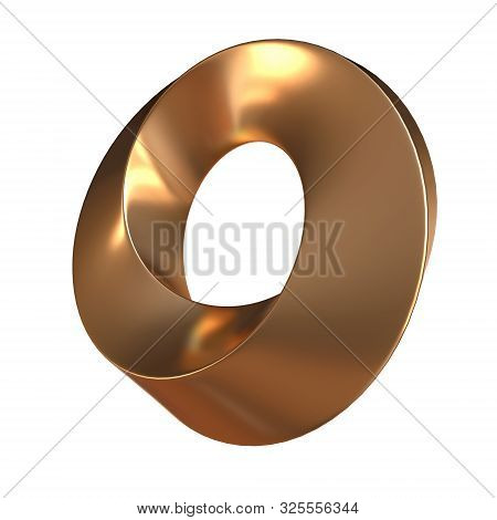 Mobius Strip Ring Sacred Geometry. Spatial Figure With Upturned Surfaces. Optical Illusion With Dual