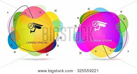 Color Security Camera With Screwdriver And Wrench Icon Isolated On White Background. Adjusting, Serv