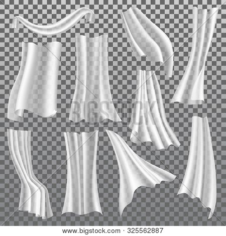 Transparent Curtains Vector Isolated 3d Realistic Icons Set. Different Shapes White Curtains Hanging