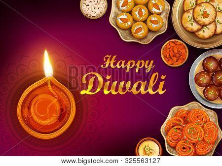 Illustration Of Burning Diya And Indian Sweet On Happy Diwali Hindu Holiday Background For Light Fes