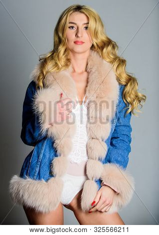 Desirable Woman. Seductive Sexy Young Woman In Lingerie And Fur Coat. Luxurious Lingerie. Girl Sexy