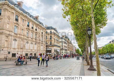 PARIS, FRANCE - July 31, 2019: Paris famous sightseeing spot Champs Elysees