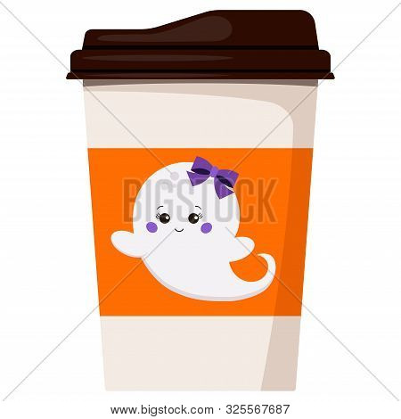 Paper Coffee Or Tea Cup Decorated With Flying Ghost Girl With Bow Isolated On White Background Vecto