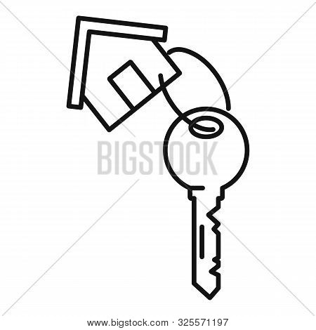 House Key Mortgage Icon. Outline House Key Mortgage Vector Icon For Web Design Isolated On White Bac