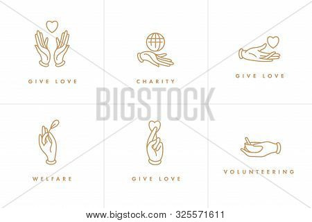 Vector Set Of Logos, Badges And Icons For Charity And Volunteer Concepts. Philanthropic Organization