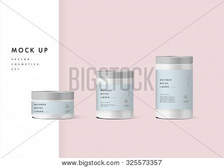 Realistic White Cosmetic Cream Container For Cream Lotion. Mock Up Bottle. Gel, Powder, Balsam, With