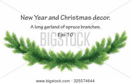 Christmas Border Of Pine Branch. Xmas Garland Decoration .border Of Branch Christmas Tree. Green Lus