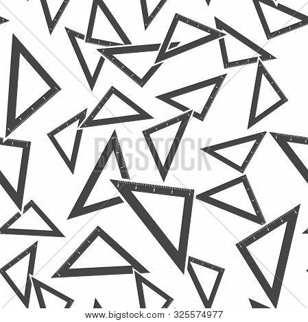 Vector Icon Triangle Ruler. Metric System. School Measuring Lance. Measuring Tape Seamless Pattern O