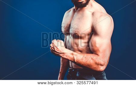 Bodybuilding Banner With Cropped Image Of Bodybuilder Athlete Flexing Biceps. Fitness Template With