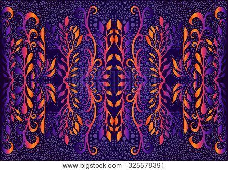 Bright Psychedelic Trippy Foliage Mandala, Isolated Dark Violet Background. Fantastic Shamanic Vecto