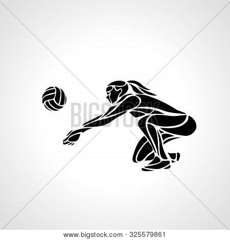 Woman Volleyball Player Silhouette Passing Ball Vector Eps10