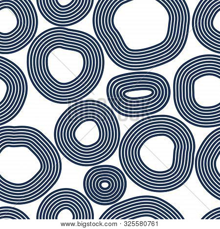 Hand Drawn Lined Circles Vector Seamless Pattern, Abstract иackground.