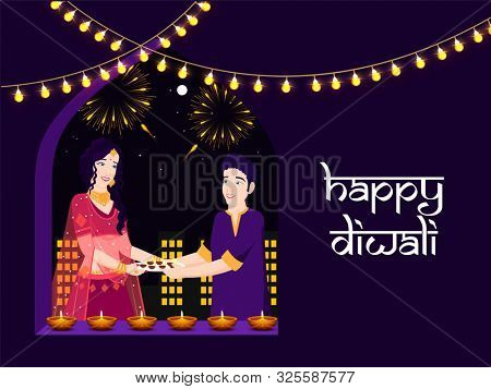 Character of Indian couple holding oil lamp for celebrating Diwali Festival. Happy Diwali poster or banner design with decoration of lighting and oil lamp on black background.