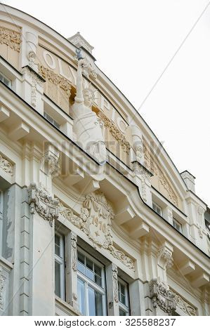 Karlovy Vary, Czech Republic - September 13, 2013: Amazing Facade Of The Olympic Hotel.