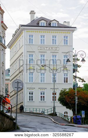 Karlovy Vary, Czech Republic - September 13, 2013: Beautiful Facade Of The Ontario Hotel.