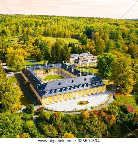 Pilsen / Czech Republic - October 1, 2019: The gorgeous Classicist-style Kozel hunting chateau from 18th century. Aerial view to landmark near Pilsen. Travel destination in Western Bohemia.