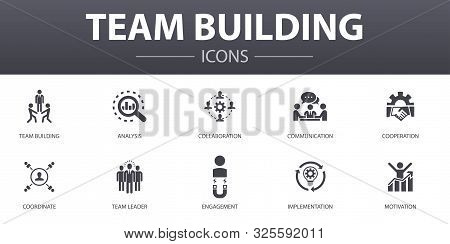 Team Building Simple Concept Icons Set. Contains Such Icons As Collaboration, Communication, Coopera