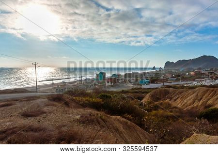 High View Of The Town And Beach Of San Lorenzo, Manabi, Ecuador, Close To Sunset.