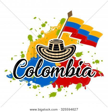Flag Of Colombia And Sombrero Vueltiao. Representative Image Of Colombia - Vector