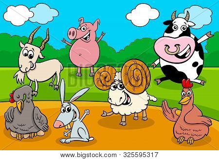 Cartoon Illustration Of Happy Farm Animals Comic Characters Group