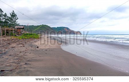 Lateral View Of The Ayampe Fishing Beach, Early In The Morning On An Overcast Day. Ayampe, Manabi, E
