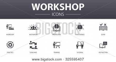 Workshop Simple Concept Icons Set. Contains Such Icons As Motivation, Knowledge, Intelligence, Pract