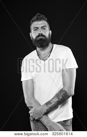 Brutal And Masculine. Brutal Caucasian Man With Long Beard On Black Background. Brutal Hipster With