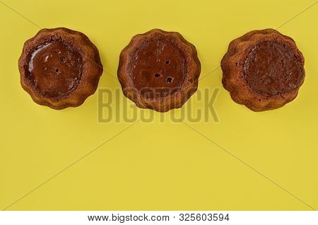 Homemade Brownie Brownies On Yellow Background. Delicious Chocolate Brownie Cakes. Close Up. Space F