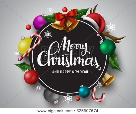 Merry Christmas Vector Banner. Merry Christmas Greetings Card With Circle Frame For Text And Message