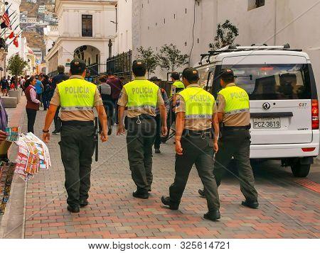 Quito, Ecuador, September 29, 2019: Police Guarding The Historic Centre Of Quito, Ecuador.