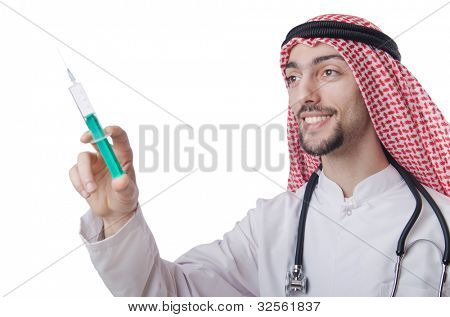 Young arab doctor isolated on white