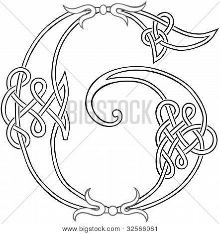 Celtic Knot-work Letter G Outline