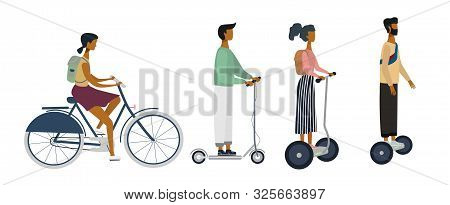 Set Of Characters On Bike, Scooter, E-scooters. City Eco Transportation Concept. Flat Vector Illustr