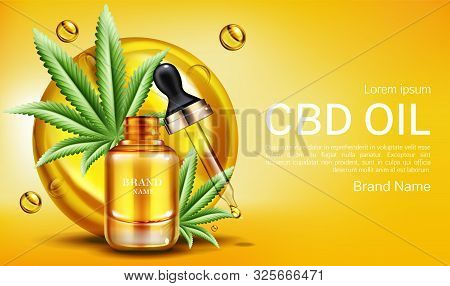 Cbd Oil Web Banner Mockup, Glass Bottle With Hemp Cannabinoid Extract, Cannabis Leaves And Droplet.