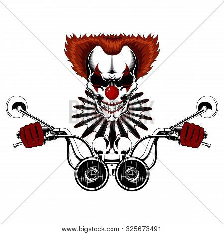 Vector Image Of A Clown Skull In Red Gloves Driving A Motorcycle. Clown Skull With Red Hair And Jabo